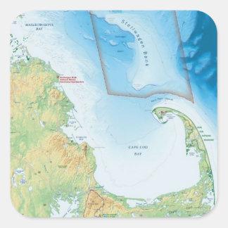 Mapa de la bahía de Cape Cod Pegatina Cuadrada