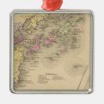 Mapa de la bahía de Casco Adorno Cuadrado Plateado