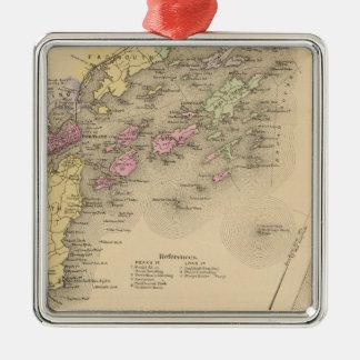 Mapa de la bahía de Casco Adorno Navideño Cuadrado De Metal