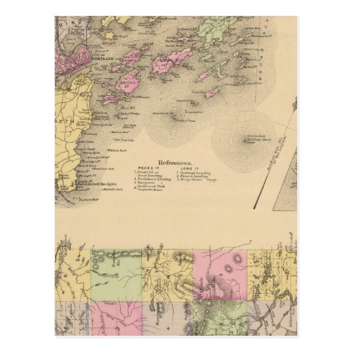 Mapa de la bahía de Casco Tarjetas Postales