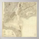 Mapa de la bahía de Nueva York y puerto y los alre Póster