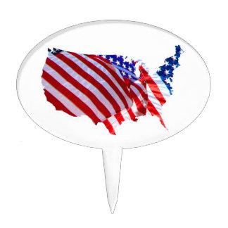 Mapa de la bandera americana palillos de tarta