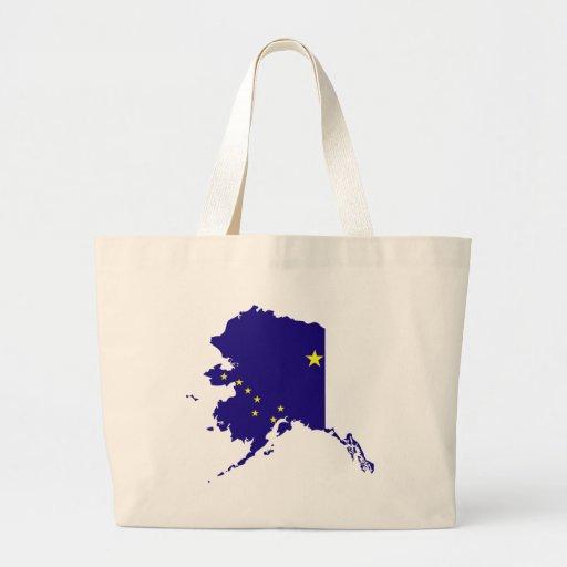 Mapa de la bandera de Alaska Bolsa Tela Grande