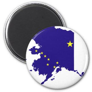 Mapa de la bandera de Alaska Imán Redondo 5 Cm