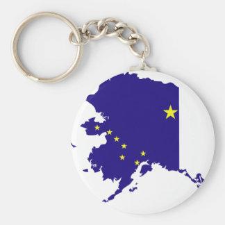 Mapa de la bandera de Alaska Llavero Redondo Tipo Pin