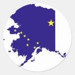 Mapa de la bandera de Alaska Pegatina Redonda