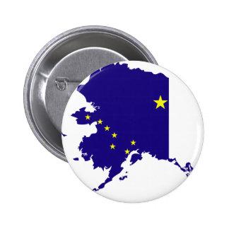 Mapa de la bandera de Alaska Pin Redondo 5 Cm
