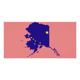 Mapa de la bandera de Alaska Plantilla Para Tarjeta De Foto
