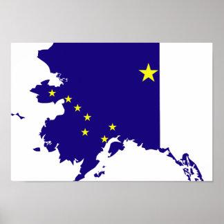 Mapa de la bandera de Alaska Póster