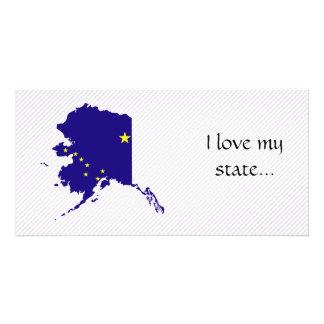 Mapa de la bandera de Alaska Tarjetas Fotográficas Personalizadas