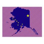 Mapa de la bandera de Alaska Tarjetas Postales