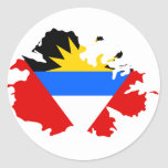 Mapa de la bandera de Antigua Etiquetas Redondas