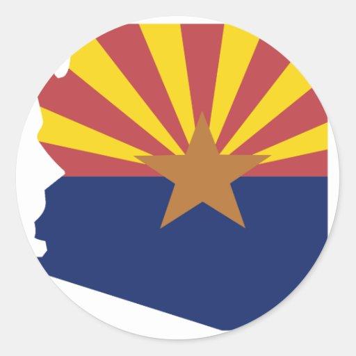 Mapa de la bandera de Arizona Pegatina Redonda