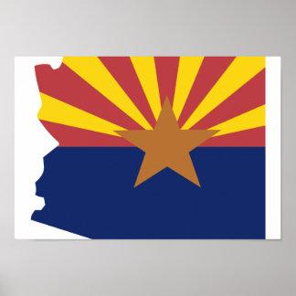 Mapa de la bandera de Arizona Póster