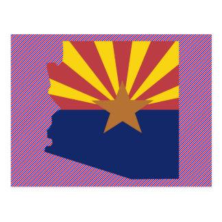 Mapa de la bandera de Arizona Tarjetas Postales
