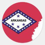 Mapa de la bandera de Arkansas Etiqueta Redonda