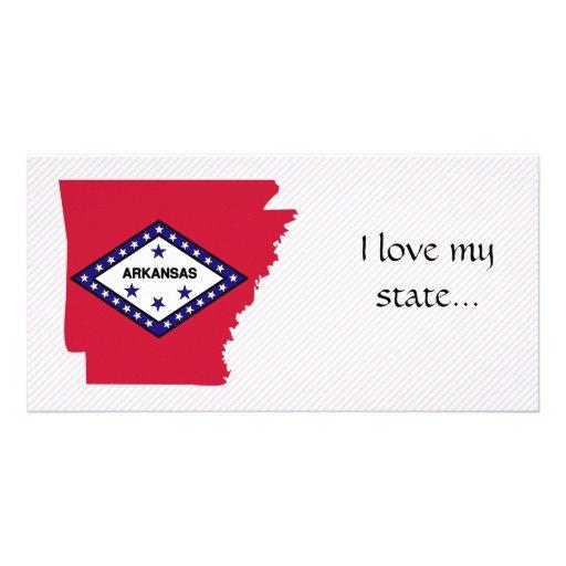 Mapa de la bandera de Arkansas Tarjetas Fotograficas Personalizadas