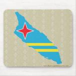 Mapa de la bandera de Aruba del mismo tamaño Tapetes De Ratones