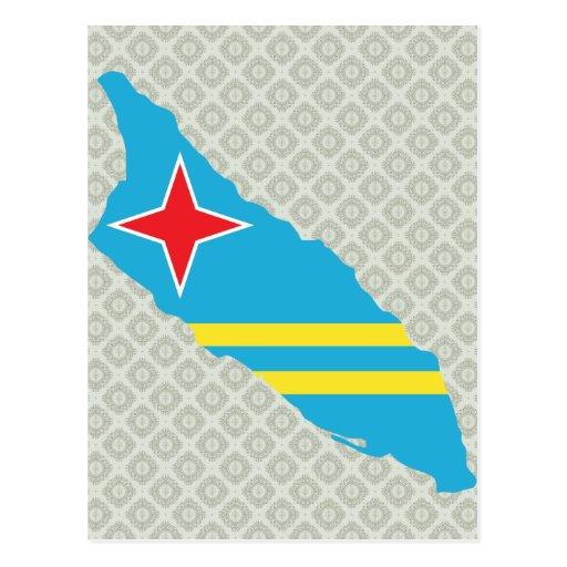 Mapa de la bandera de Aruba del mismo tamaño Postales