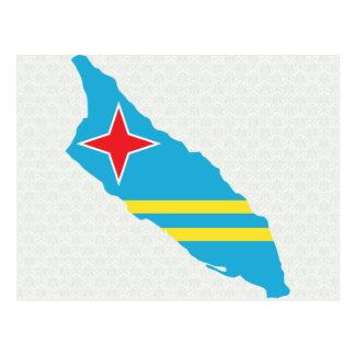Mapa de la bandera de Aruba del mismo tamaño Tarjeta Postal