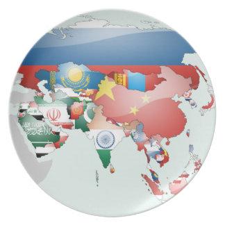Mapa de la bandera de Asia Plato De Cena