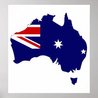 Mapa de la bandera de Australia del mismo tamaño Póster
