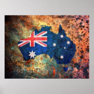 Mapa de la bandera de Australia Poster