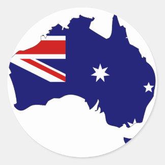 Mapa de la bandera de Australia Pegatina Redonda