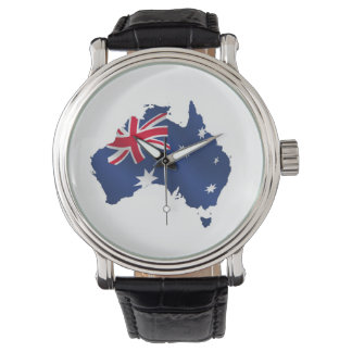 Mapa de la bandera de Australia Relojes De Pulsera