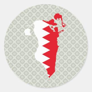 Mapa de la bandera de Bahrein del mismo tamaño Pegatina Redonda