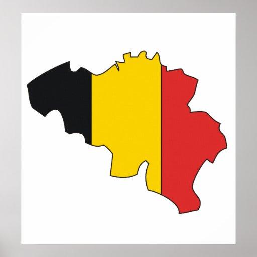 Mapa de la bandera de Bélgica del mismo tamaño Poster