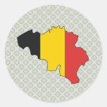 Mapa de la bandera de Bélgica del mismo tamaño Pegatinas Redondas