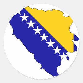 Mapa de la bandera de Bosnia y Hercegovina Pegatina Redonda