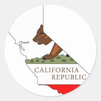 Mapa de la bandera de California Pegatina Redonda