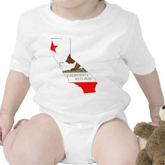 Mapa de la bandera de California Trajes De Bebé