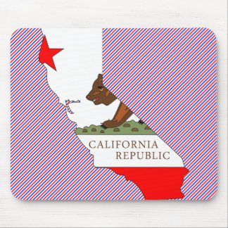 Mapa de la bandera de California Tapete De Ratón