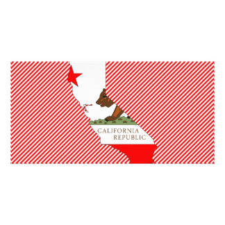 Mapa de la bandera de California Plantilla Para Tarjeta De Foto