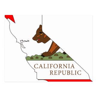 Mapa de la bandera de California Tarjetas Postales