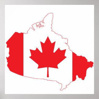 Mapa de la bandera de Canadá Póster