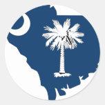 Mapa de la bandera de Carolina del Sur Pegatina Redonda