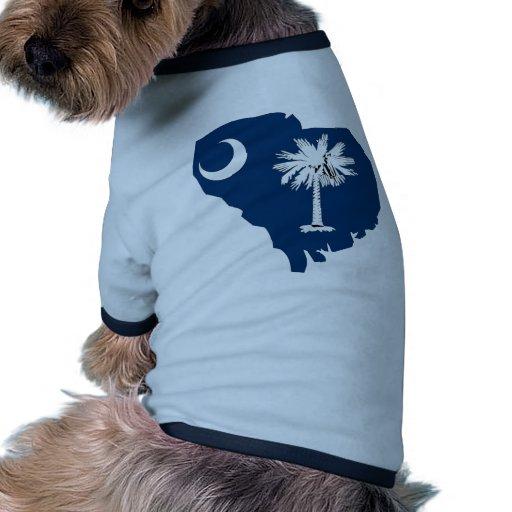 Mapa de la bandera de Carolina del Sur Camiseta Con Mangas Para Perro
