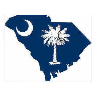 Mapa de la bandera de Carolina del Sur Tarjetas Postales