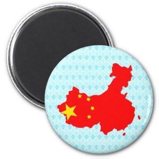 Mapa de la bandera de China del mismo tamaño Imán Redondo 5 Cm