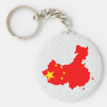 Mapa de la bandera de China del mismo tamaño Llavero Personalizado
