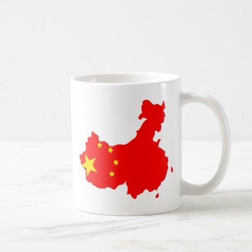Mapa de la bandera de China del mismo tamaño Taza Clásica