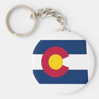 Mapa de la bandera de Colorado Llavero Redondo Tipo Pin