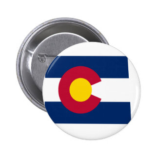 Mapa de la bandera de Colorado Pin Redondo 5 Cm