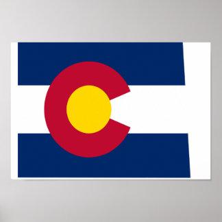 Mapa de la bandera de Colorado Póster