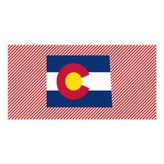 Mapa de la bandera de Colorado Tarjeta Fotografica Personalizada