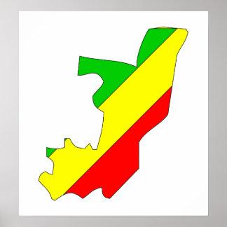 Mapa de la bandera de Congo Brazzaville del mismo Póster